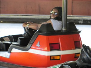 "Nana Gyyesi riding the ""Bear Valley Bumper Cars"""