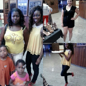 "A Student and her children attending the Club Fair Posing next to Candice Cooper (Left) Alaina (Upper Right Hand Corner) Our High Heel Specialist. & Candice Cooper (lower Right) Posing with our ""Haute Dog Wieners"""""