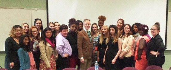 David Zyla pictured with GCC Fashion Students