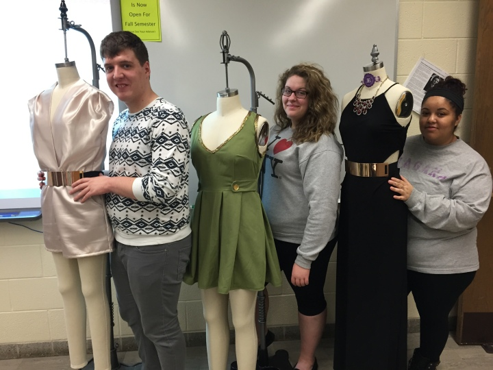 Fashion Design students Ryan, Amber, and Cathy with their PGM dress forms.