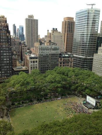 Overlooking Bryant Park's free summer concert.
